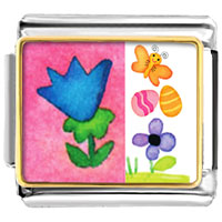 Italian Charms - flowers with butterfly and easter eggs animal photo italian charms bracelet link Image.