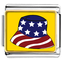 Italian Charms - patriotic american cap flag italian charms bracelet link photo italian charm Image.