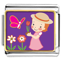 Italian Charms - girl in the garden italian charms bracelet link photo italian charm Image.