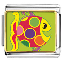 Italian Charms - animal photo colorful happy fish italian charms bracelet link photo italian charm Image.