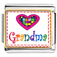 Colorful Grandma Heart Italian Charms