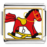 Italian Charms - animal photo rocking horse toy italian charms bracelet link photo italian charm Image.