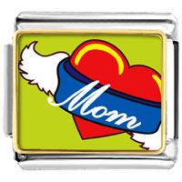 Italian Charms - heart mom with wings italian charms photo italian charm Image.