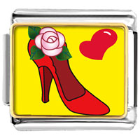 Italian Charms - shoe with flower and heart italian charm photo italian charm Image.