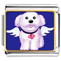 Italian Charms - white dog from heaven animal photo valentine hearts italian charms bracelet link photo italian charm Image.