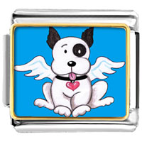Italian Charms - black and white dog from heaven animal photo valentine hearts italian charms bracelet link photo italian charm Image.