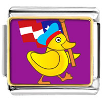 Italian Charms - american duck walking animal photo flag italian charms bracelet link photo italian charm Image.