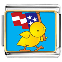 Italian Charms - cute duck with american flag animal photo italian charms bracelet link Image.