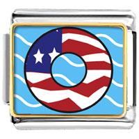 Italian Charms - american flag donut italian charms bracelet link photo italian charm Image.