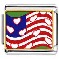 Italian Charms - american flag with hearts valentine italian charms bracelet link photo italian charm Image.