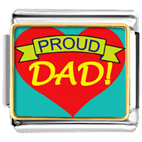 Italian Charms - proud dad valentine hearts italian charms bracelet link photo italian charm Image.