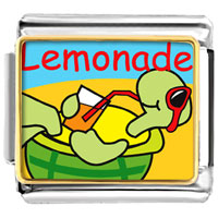 Italian Charms - summer turtle lemonade animal photo food italian charms bracelet link photo italian charm Image.