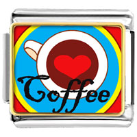 Italian Charms - heart coffee photo italian charm Image.