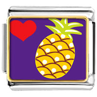 Italian Charms - heart pineapple photo italian charm bracelet Image.