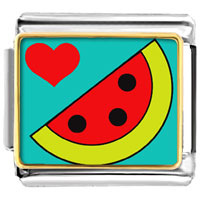 Italian Charms - heart watermelon photo charm italian photo italian charm Image.