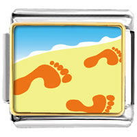 Footprints In The Sand Italian Charms Bracelet Link