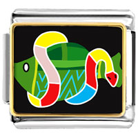 Italian Charms - animal photo multicolored snake around fish italian charms bracelet link photo italian charm Image.
