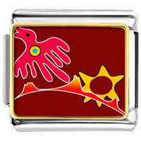 Italian Charms - flying red bird animal photo italian charms bracelet link Image.