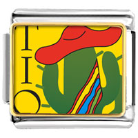 Italian Charms - tio cactus with hat italian charms bracelet link photo italian charm Image.