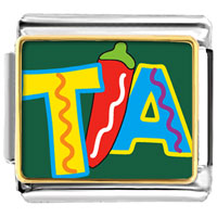 Italian Charms - tia with chili pepper photo italian charm Image.