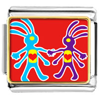 Italian Charms - colorful kokopelli heart italian charm bracelet photo italian charm Image.