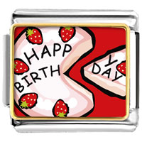 Italian Charms - pink strawberry birthday cake food italian charms bracelet link photo italian charm Image.