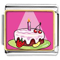 Italian Charms - birthday cake in spotlight food italian charms bracelet link photo italian charm Image.