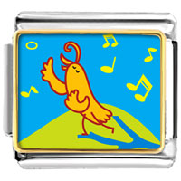 Italian Charms - singing chirping bird animal photo italian charms bracelet link Image.