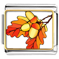 Italian Charms - autumn acorn leaves italian charms bracelet link photo italian charm Image.