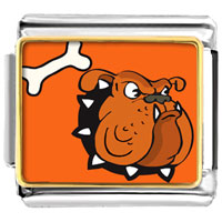 Italian Charms - bulldog dog animal photo italian charms bracelet link Image.