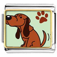 Italian Charms - blood hound dog animal photo italian charms bracelet link Image.