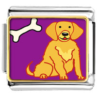 Italian Charms - golden retriever dog animal photo italian charms bracelet link Image.