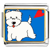 Italian Charms - westie dog animal photo italian charms bracelet link Image.