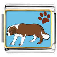 Italian Charms - saint bernard dog animal photo italian charms bracelet link Image.