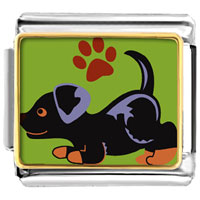 Italian Charms - rottweiler animal photo italian charms bracelet link Image.