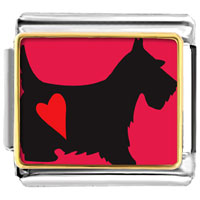 Italian Charms - scottie dog animal photo italian charms bracelet link Image.