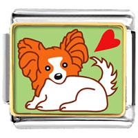 Italian Charms - papillion dog animal photo italian charms bracelet link Image.