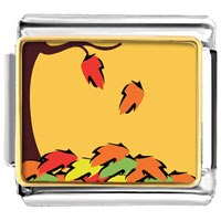 Italian Charms - fallen autumn leaves italian charms bracelet link photo italian charm Image.