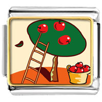 Italian Charms - apples on tree food italian charms bracelet link photo italian charm Image.