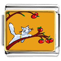 Italian Charms - cat plays with apples animal photo italian charms bracelet link Image.