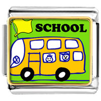 Italian Charms - fun school bus italian charms bracelet link photo italian charm Image.