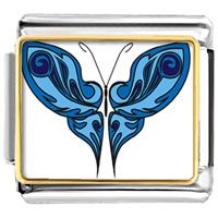 Italian Charms - shades of blue butterfly photo italian charms Image.