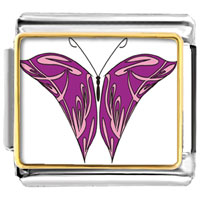 Italian Charms - purple and pink butterfly photo italian charm bracelet Image.