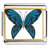 Italian Charms - exotic blue butterfly photo italian charms Image.