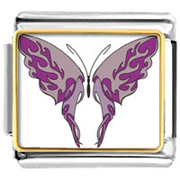Italian Charms - shades of purple butterfly photo italian charms Image.
