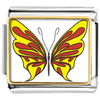 Italian Charms - yellow and red butterfly photo italian charms Image.