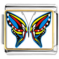 Italian Charms - exotic blue yellow &  red butterfly photo italian charms Image.