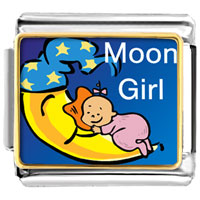 Italian Charms - moon girl italian charms bracelet link photo italian charm Image.