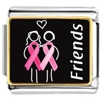 Items from KS - breast cancer awareness friends support pink ribbon photo italian charm bracelet Image.
