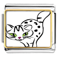Italian Charms - animal photo egyptian mau cat italian charms bracelet link photo italian charm Image.